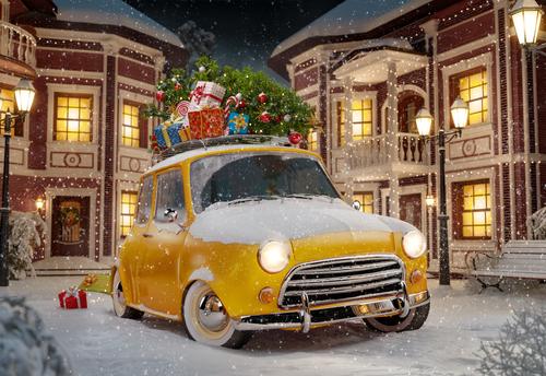 En julig bild med gul liten bil fullastad med julgran och klappar på taket. Den bild som vi alltid använder till vårt eget julevent.