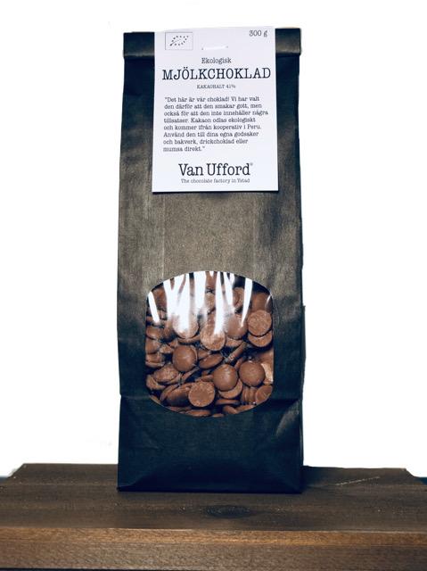 Svart påse i papper med fönster där chokladknappar mjölkchoklad syns. 300g.