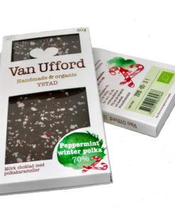 Pepparmint winter polka - ekologisk mörk 70% choklad med krossad polkagris från gränna.