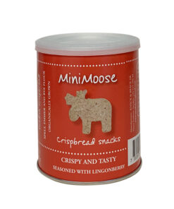 MiniMoose, röd burk med lingonknäcke i form av små älgar bakde av dinke, EKO.