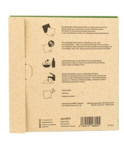 Baksidan av pappersförpackningen med bivaxdukar.