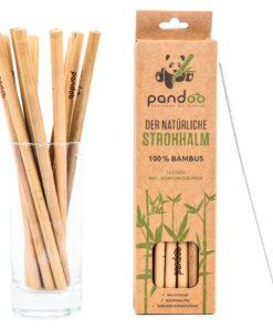 Bambusugrör i naturbrun pappersförpackning samt bild på sugrören stående i glas