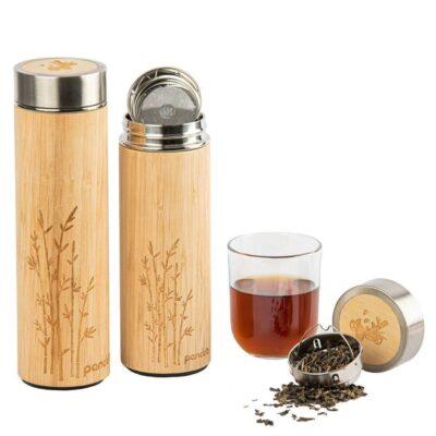 Termomugg i rostfritt stål kädda med naturfärgad bambu. Ingår tesil.