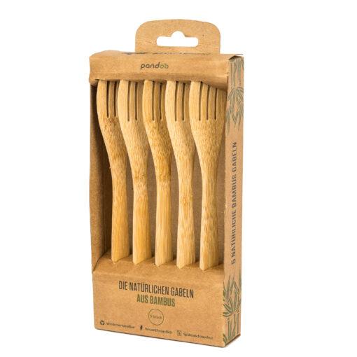 Fem gafflar av bambu i brun pappersförpackning med fönster.