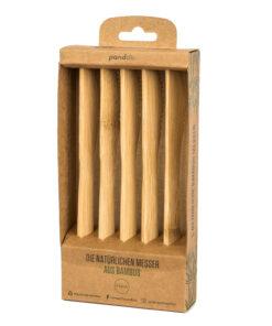 Fem knivar i brun pappersförpackning med fönser.